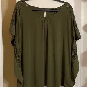 Lane Bryant flutter sleeve and lace blouse